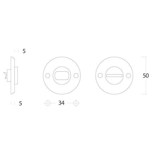 Intersteel Rozet toilet-/badkamersluiting schroefgat Koper gelakt - Technische tekening