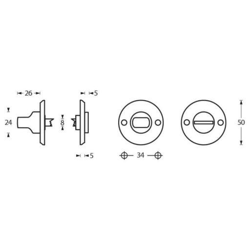 Intersteel Rozet toilet-/badkamersluiting schroefgat chroom - Technische tekening