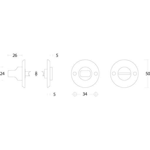 Intersteel Rozet toilet-/badkamersluiting schroefgat nikkel mat - Technische tekening