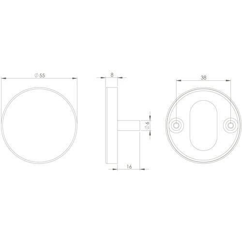 Intersteel Rozet toilet-/badkamersluiting staal INOX geborsteld - Technische tekening