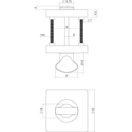 Intersteel Rozet toilet-/badkamersluiting vierkant chroom/nikkel mat - Technische tekening