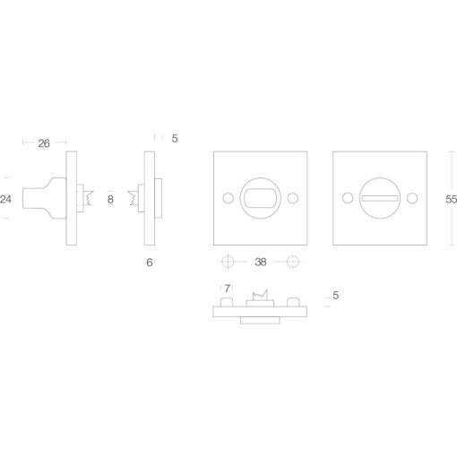 Intersteel Rozet toilet-/badkamersluiting vierkant groot nikkel mat - Technische tekening