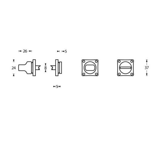 Intersteel Rozet toilet-/badkamersluiting vierkant schroefgat mat zwart - Technische tekening