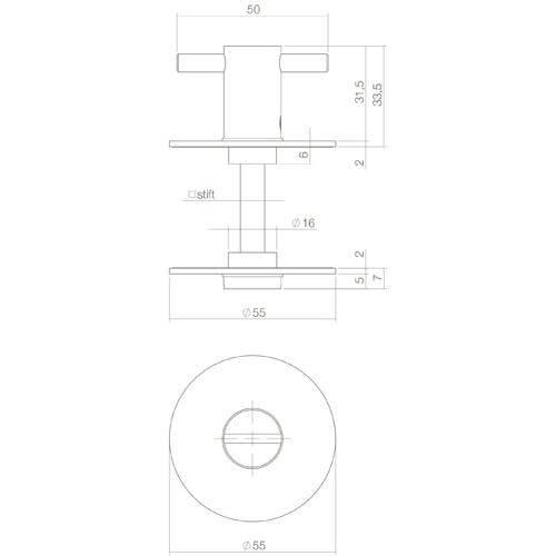 Intersteel Rozet toilet-/badkamersluiting zelfklevend rond plat INOX geborsteld - Technische tekening