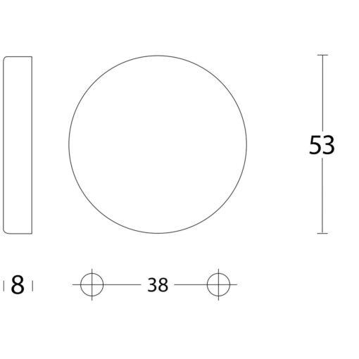 Intersteel Rozet verdekt blind INOX geborsteld - Technische tekening