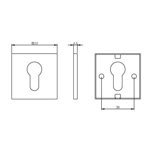 Intersteel Rozet vierkant met profielcilindergat INOX gepolijst - Technische tekening