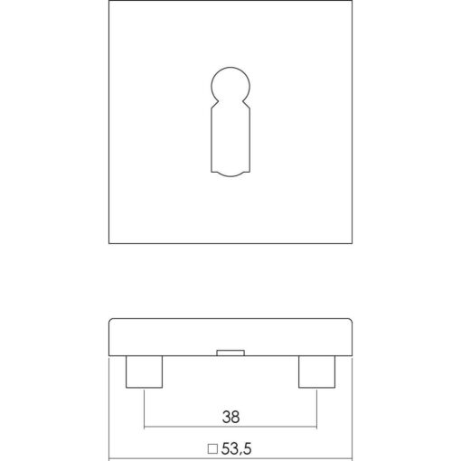 Intersteel Rozet vierkant met sleutelgat INOX geborsteld - Technische tekening