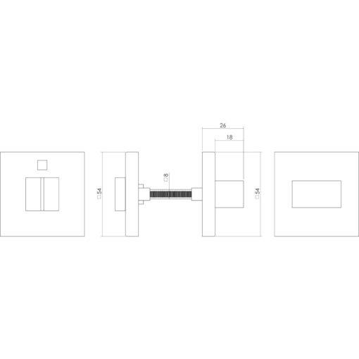 Intersteel Rozet vierkant met toilet-/badkamersluiting INOX geborsteld 8 mm - Technische tekening