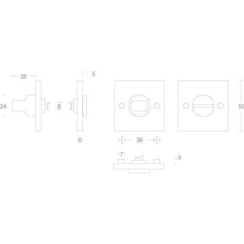 Intersteel Rozet vierkant met toilet-/badkamersluiting chroom - Technische tekening