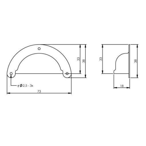 Intersteel Schelpgreep 73 mm nikkel - Technische tekening