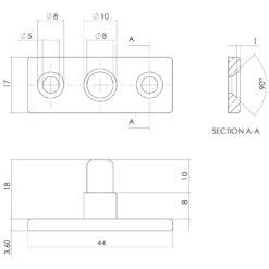 Intersteel Stelpen Koper gebruineerd - Technische tekening