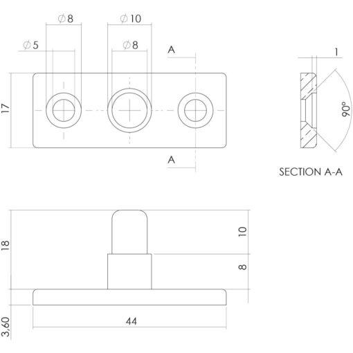 Intersteel Stelpen chroom - Technische tekening
