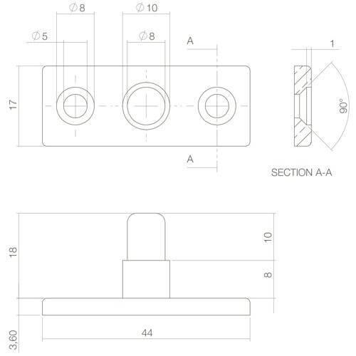 Intersteel Stelpen mat zwart - Technische tekening
