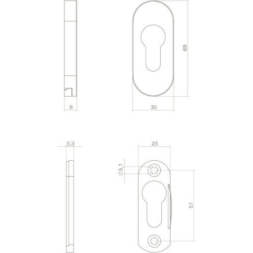 Intersteel Veiligheid-schuifrozet ovaal 10 mm INOX gepolijst - Technische tekening