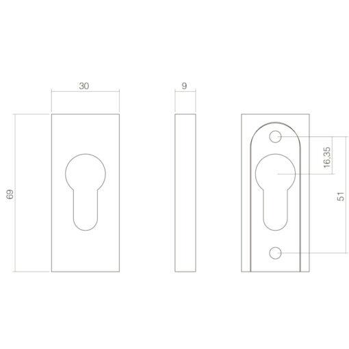 Intersteel Veiligheid-schuifrozet rechthoekig 10 mm INOX gepolijst - Technische tekening