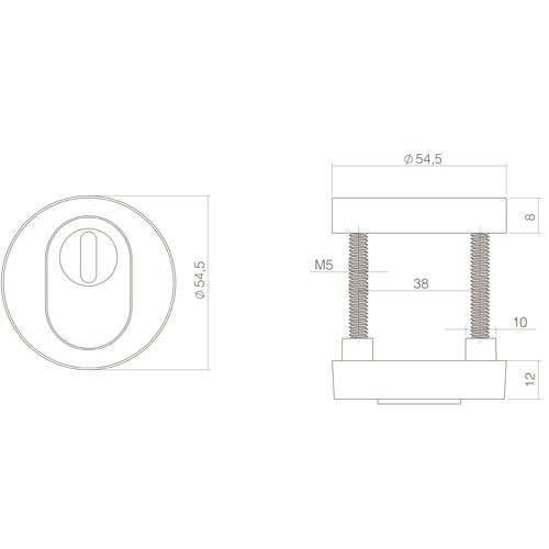 Intersteel Veiligheidsrozet Cilinderbescherming mat zwart - Technische tekening