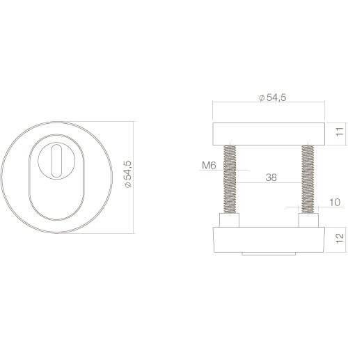 Intersteel Veiligheidsrozet SKG3 Cilinderbescherming Koper gelakt - Technische tekening