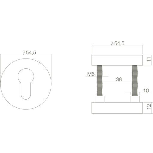 Intersteel Veiligheidsrozet SKG3 Koper gebruineerd - Technische tekening