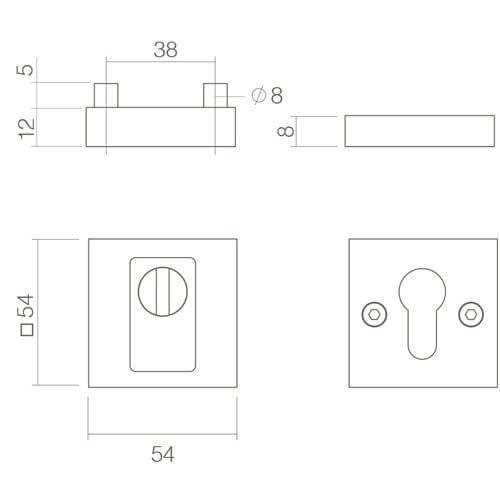 Intersteel Veiligheidsrozet SKG3 met Cilinderbescherming vierkant INOX geborsteld - Technische tekening
