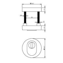 Intersteel Veiligheidsrozet SKG3 rond Cilinderbescherming chroom mat - Technische tekening