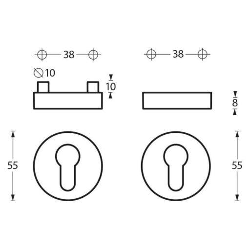 Intersteel Veiligheidsrozet SKG3 rond INOX geborsteld - Technische tekening