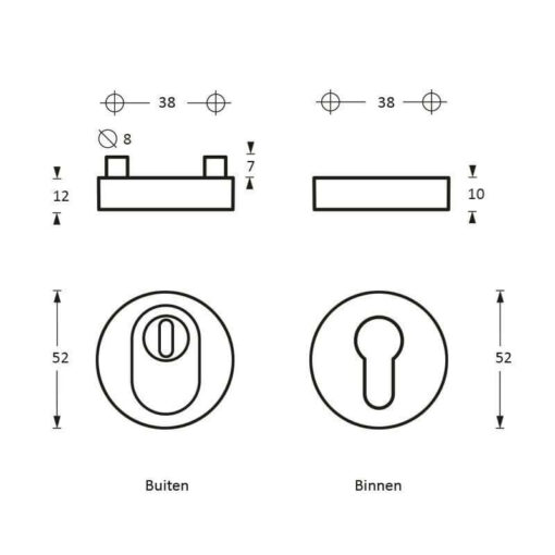 Intersteel Veiligheidsrozet SKG3 rond massief Cilinderbescherming INOX geborsteld - Technische tekening