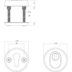 Intersteel Veiligheidsrozet SKG3 rond met Cilinderbescherming aluminium - Technische tekening