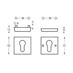 Intersteel Veiligheidsrozet SKG3 vierkant met cilindergat INOX geborsteld - Technische tekening