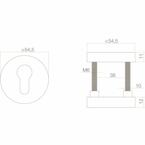 Intersteel Veiligheidsrozet rond SKG3 Koper getrommeld - Technische tekening