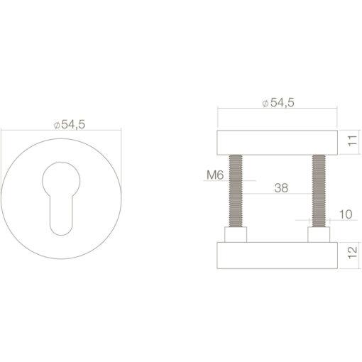 Intersteel Veiligheidsrozet rond SKG3 Koper ongelakt - Technische tekening
