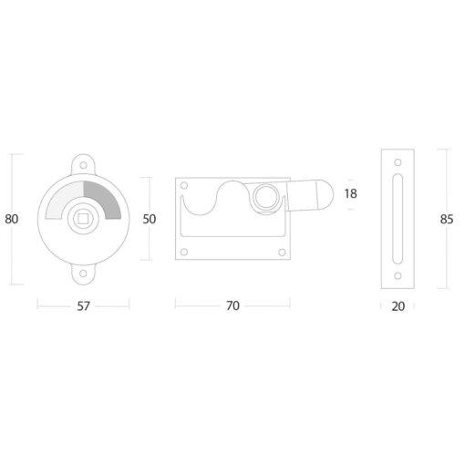Intersteel WC-overslag met bocht Koper ongelakt - Technische tekening