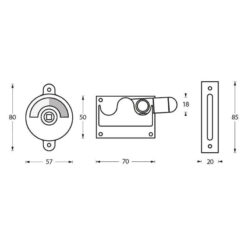 Intersteel WC-overslag met bocht mat zwart - Technische tekening