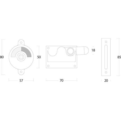 Intersteel WC-overslag met bocht nikkel - Technische tekening