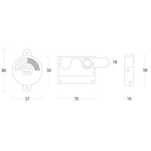 Intersteel WC-overslag vlak Koper gelakt - Technische tekening