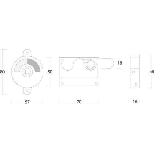 Intersteel WC-overslag vlak nikkel - Technische tekening