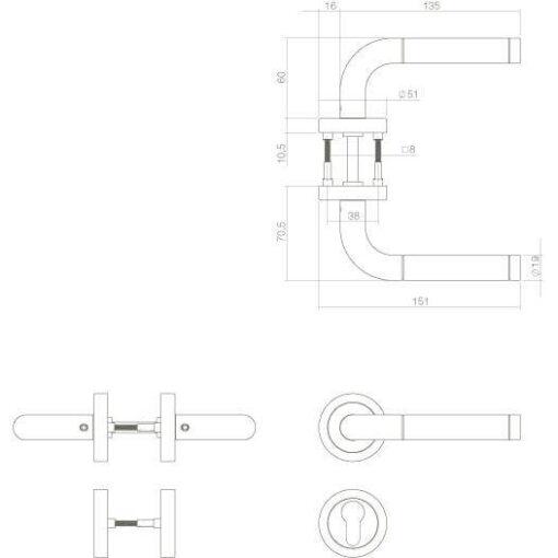 Intersteel deurklink Agatha met rozet profielcilindergat INOX geborsteld - Technische tekening