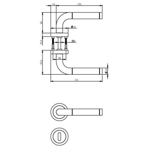 Intersteel deurklink Agatha met rozet sleutelgat INOX geborsteld - Technische tekening