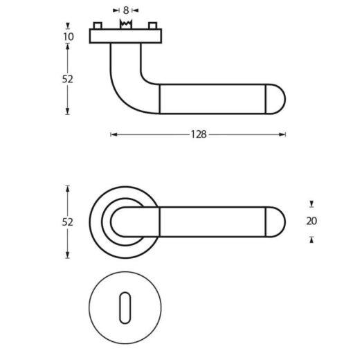 Intersteel deurklink Agatha op rozet sleutelgat chroom - Technische tekening