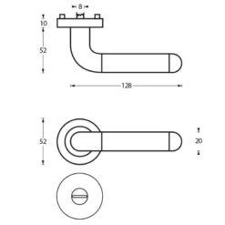 Intersteel deurklink Agatha op rozet toilet-/badkamersluiting chroom - Technische tekening
