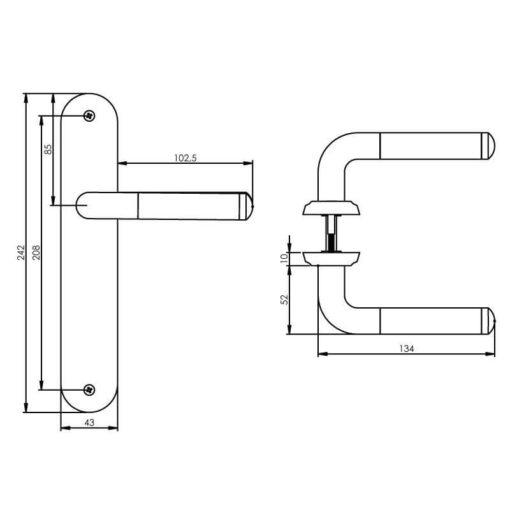 Intersteel deurklink Agatha op schild blind chroom - Technische tekening