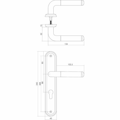 Intersteel deurklink Agatha op schild profielcilindergat 88 mm chroom - Technische tekening