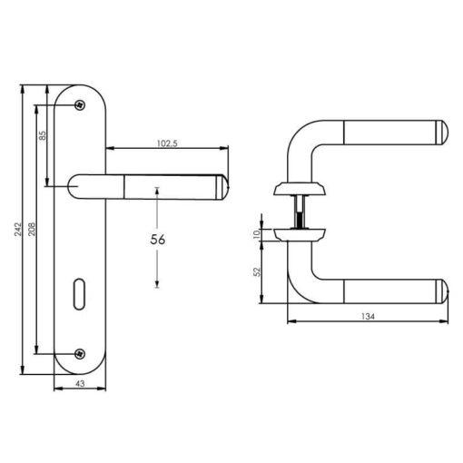 Intersteel deurklink Agatha op schild sleutelgat 56 mm chroom - Technische tekening
