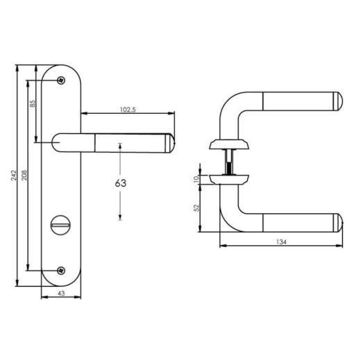 Intersteel deurklink Agatha op schild toilet-/badkamersluiting 63 mm chroom - Technische tekening