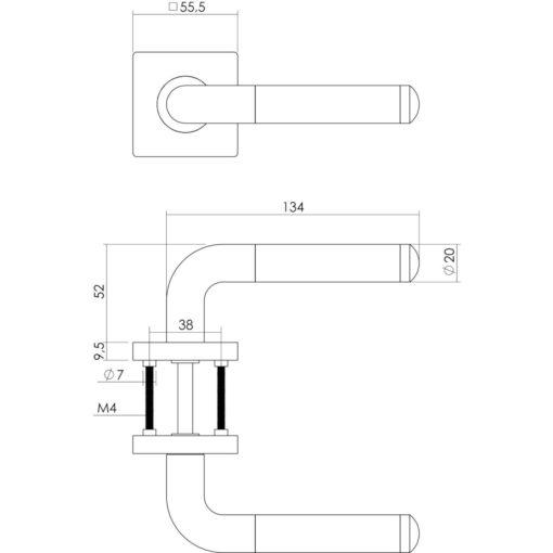 Intersteel deurklink Agatha op vierkant rozet toilet-/badkamersluiting 8 mm chroom - Technische tekening