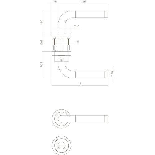 Intersteel deurklink Agatha rozet met toilet-/badkamersluiting INOX geborsteld - Technische tekening