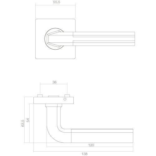 Intersteel deurklink Amber op vierkant rozet chroom - Technische tekening
