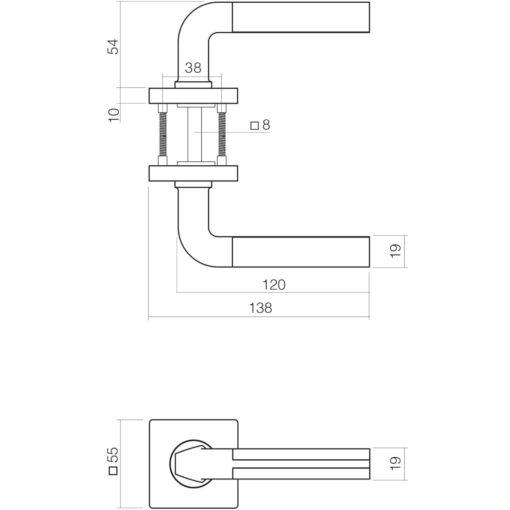 Intersteel deurklink Amber op vierkant rozet toilet-/badkamersluiting chroom - Technische tekening