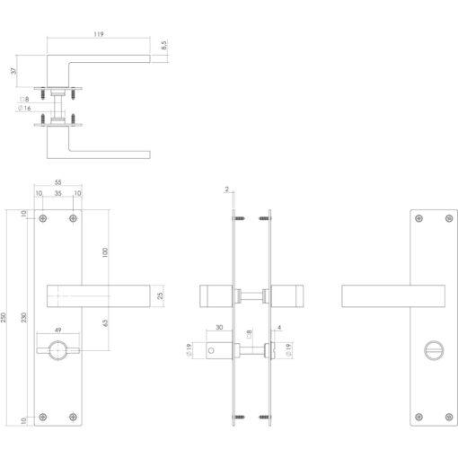 Intersteel deurklink Amsterdam op schild met sluiting INOX geborsteld - Technische tekening