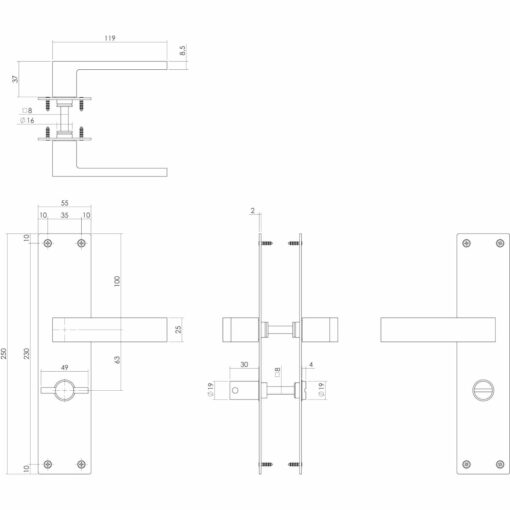 Intersteel deurklink Amsterdam op schild met sluiting mat zwart - Technische tekening