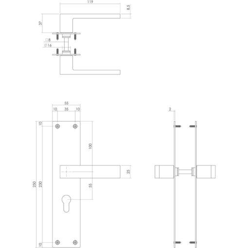 Intersteel deurklink Amsterdam op schild profielcilinder 55 mm INOX geborsteld - Technische tekening